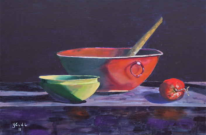 2 Bowls and an Apple / mixed media (acrylic and oil) 36 x 24 / $350.00